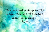 Rumi - you are not a drop in the ocean but the ocean in a drop