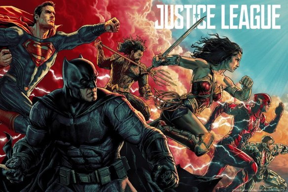 MondoCon 2017 Exclusive Justice League Movie Poster Screen Print by Lee Bermejo x Mondo x DC Comics