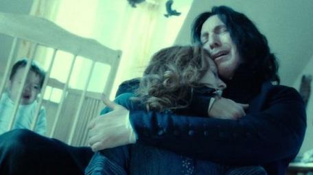 Snape-Alan Rickman_Holding Lilly Potter