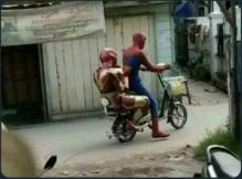 Iron Man hitching a ride with Spidey